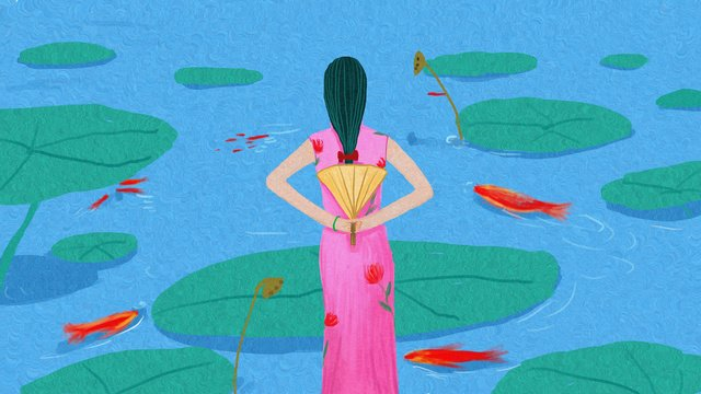 Original illustration of cheongsam woman in lotus pond, Cheongsam, Lotus Pond, Lotus Leaf illustration image