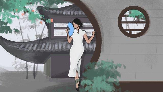 中華人民共和国fengjiang south garden drizzle pavilionチャイナファンファンの女性 イラスト素材 イラスト画像