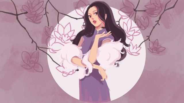 Cheongsam woman costume retro illustration, Cheongsam, Republic Of China, Retro illustration image