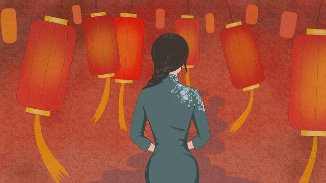 Original illustration of a woman wearing cheongsam and red lantern, Cheongsam, Woman, Back View illustration image
