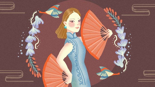 Cheongsam woman illustration, Cheongsam Woman, Cheongsam, Woman illustration image