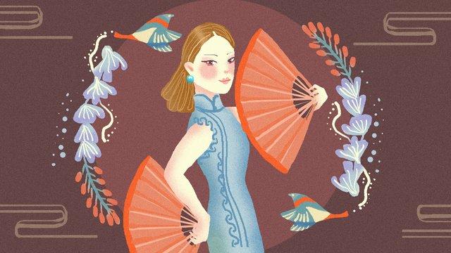 Cheongsam woman illustration, Cheongsam Woman, Cheongsam, Woman illustration image