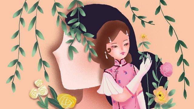Cheongsam woman folk style illustration, Cheongsam Woman, Cheongsam, Woman illustration image