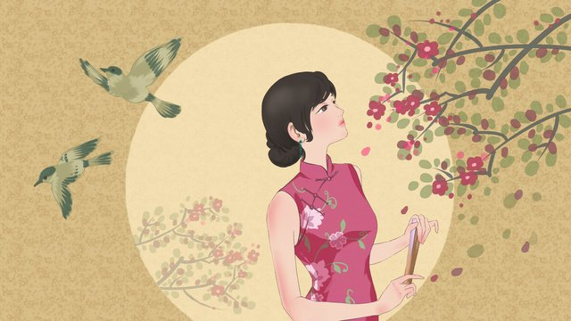 an original illustration of a woman wearing cheongsam looking up at the smell flowers llustration image