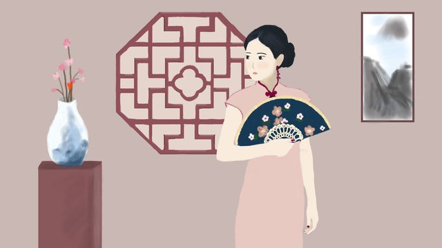 Woman wearing cheongsam, Cheongsam, Woman, Fan illustration image