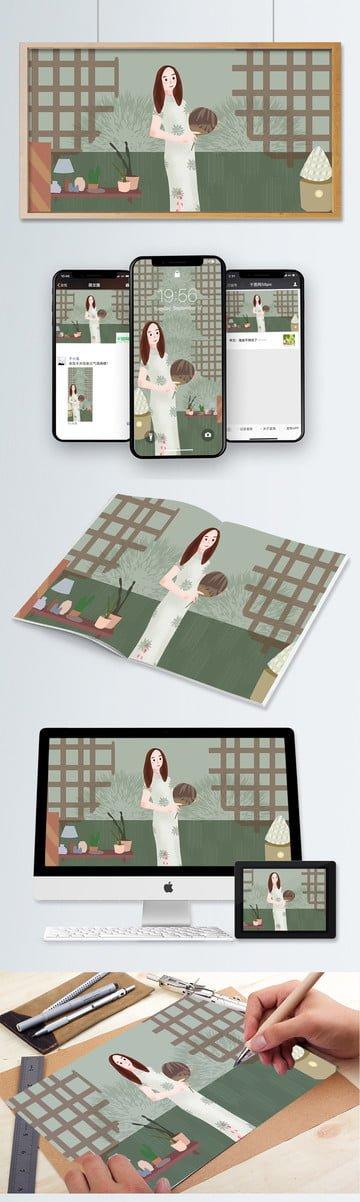 woman wearing elegant cheongsam llustration image