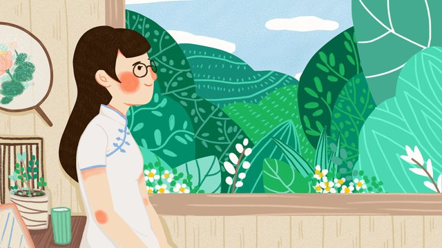 woman wearing cheongsam indoor looking at landscape original illustration llustration image