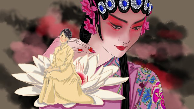 Cheongsam woman adventure, Cheongsam Woman, Peking Opera, Culture Clash illustration image