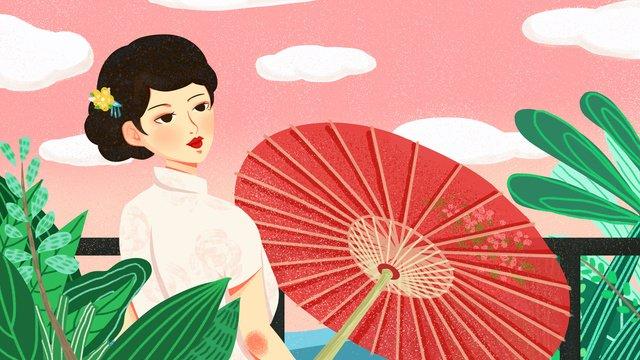 Cheongsam woman oil paper umbrella back to the original illustration, Cheongsam, Woman, Republic Of China illustration image