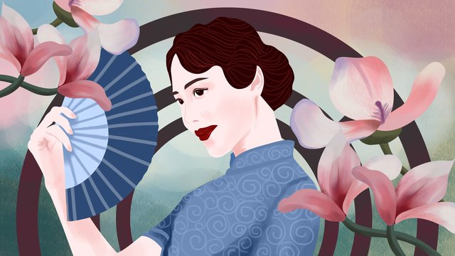 Original illustration cheongsam woman holding a folding fan, Cheongsam Woman, Republic Of China, Paper Fan illustration image