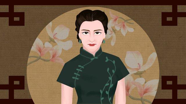 Original illustration cheongsam woman dignified and elegant, Cheongsam Woman, Republic Of China, Retro illustration image