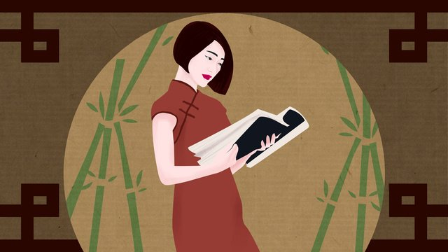Original illustration cheongsam woman retro aesthetic, Cheongsam Woman, Retro, Beautiful illustration image