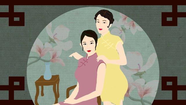 Original illustration cheongsam woman sisters love, Cheongsam Woman, Sisters, Girlfriend illustration image