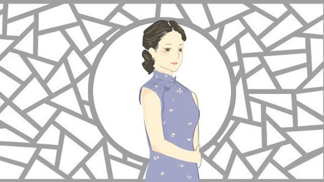 Simple and fresh cheongsam woman illustration, Cheongsam, Woman, Woman Wearing Cheongsam illustration image
