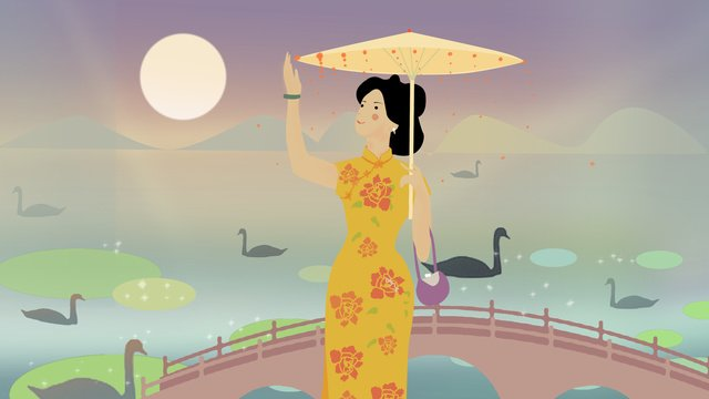 Woman wearing cheongsam, Cheongsam, Yellow, Moon illustration image
