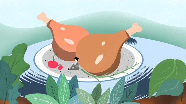 Chicken leg food cherries enjoy delicious dishes original illustration, Chicken Leg, Chicken, Delicious illustration image