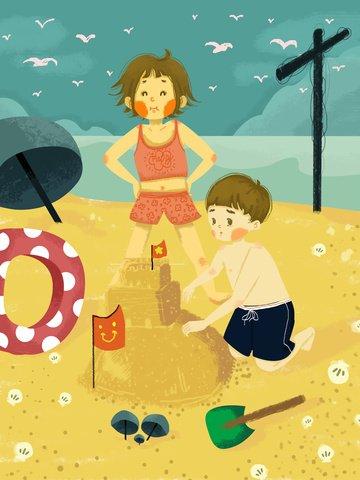 antarabangsa hari kanak kanak kanak kanak di pantai laut pada perjalanan ke istana ilustrasi imej keterlaluan imej ilustrasi