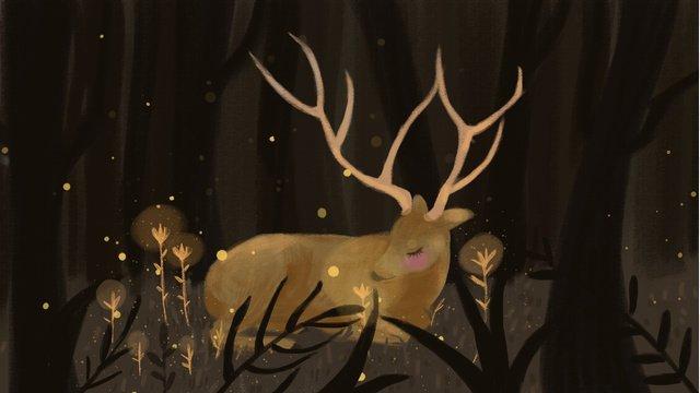 Childrens forest deep deer, Child, Deer, Forest illustration image