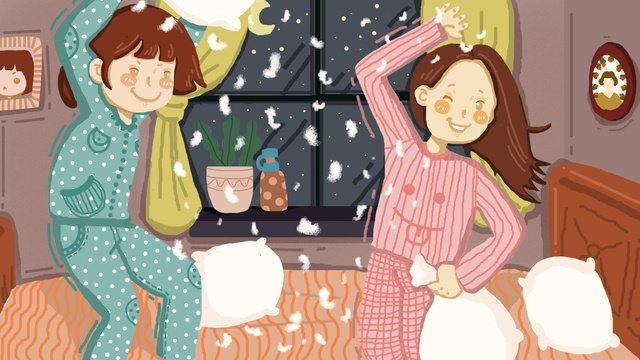 two little girls playing games before going to bed original illustration llustration image
