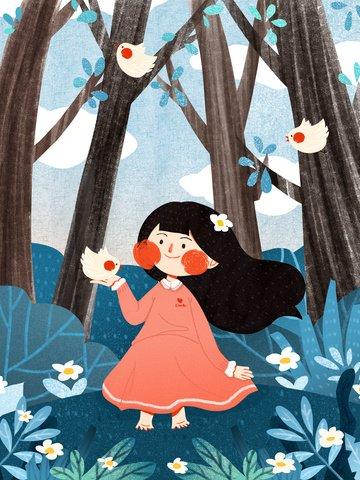 international childrens day girls birds cute simple flat original illustration llustration image