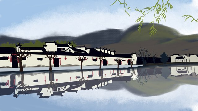 chinese ancient architecture hongcun scenery original illustration llustration image illustration image