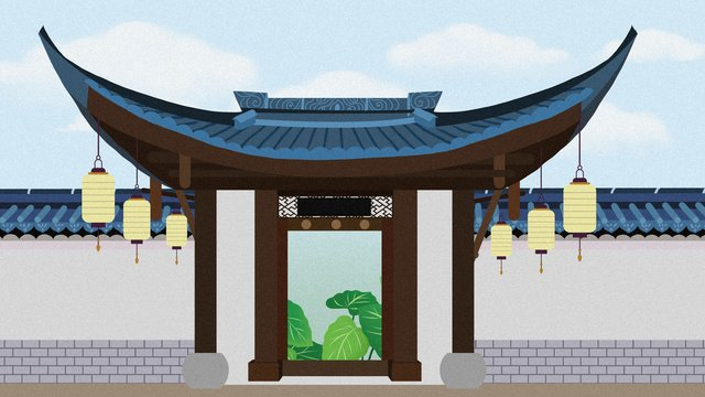 chinese style garden architecture ancient illustration llustration image illustration image
