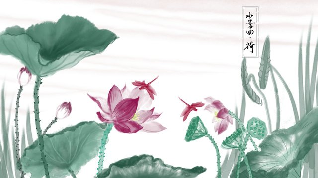 Chinese ink illustration lotus hand painted painting, Chinese Ink Illustration, Ink Painting, Lotus illustration image