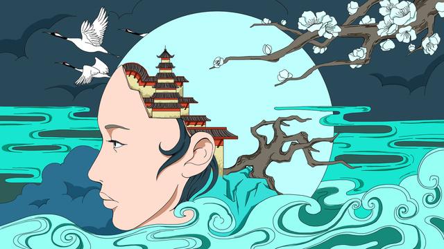 中國風中秋嫦娥仙境插畫 插畫素材 插畫圖片