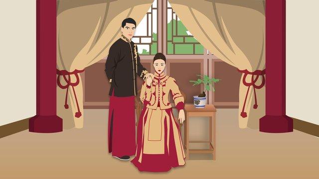 Atmospheric delicate realistic retro chinese wedding invitation illustration llustration image illustration image