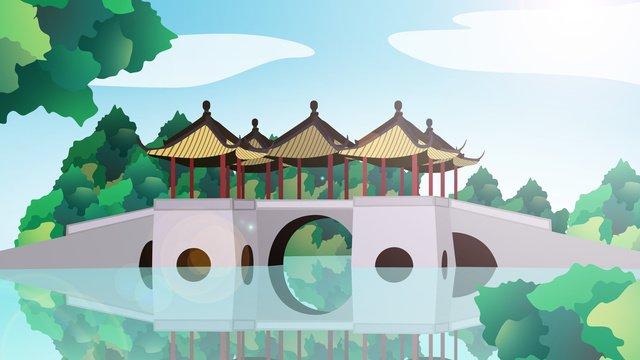 中国風の歴史的建造物武亭橋 イラスト素材 イラスト画像