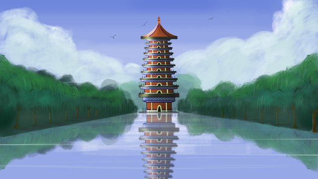 Chinese style antiquity Ancient architecture tower, Clear Skies Yesterday, Blue Sky, White Clouds illustration image