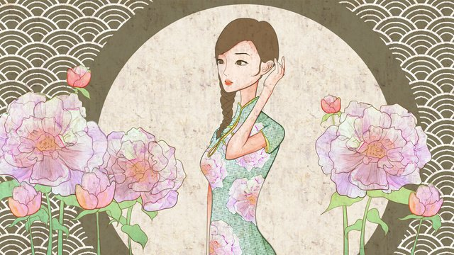 Chinese style ancient cheongsam beauty medicine traditional texture illustration, Chinese Style, Antiquity, Ancient illustration image