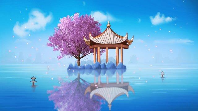 蘭亭湖の中心の美しい壁紙の下の中国風の古代建築の桜 イラスト素材 イラスト画像