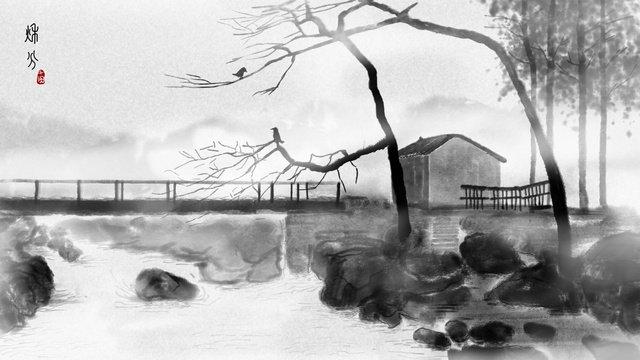 中国風の小さな橋流れる水人インクイラスト イラスト素材 イラスト画像