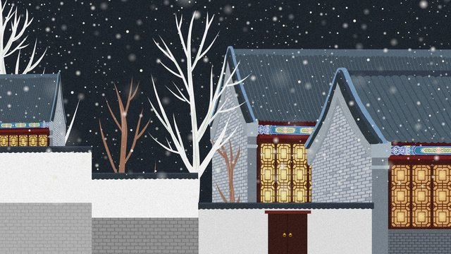 Chinese wind and snow ancient architecture illustration llustration image illustration image