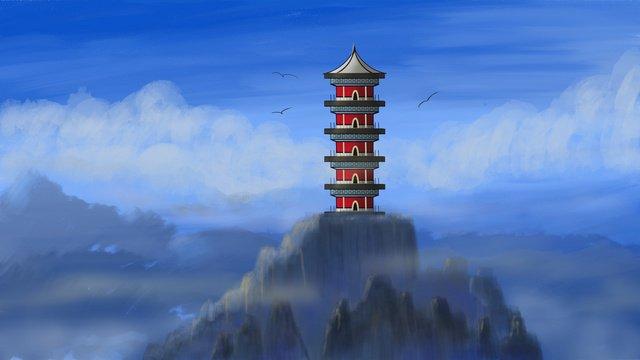 絶妙なおとぎの国の中国風アンティーク建築雲治療イラストポスター イラスト素材