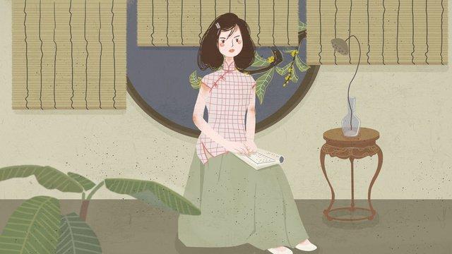 Cheongsam woman illustration sitting in chinese style, Chinese Style, Cheongsam, Sitting Woman illustration image