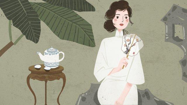 Chinese style cheongsam woman illustration, Chinese Style, Cheongsam, Woman illustration image