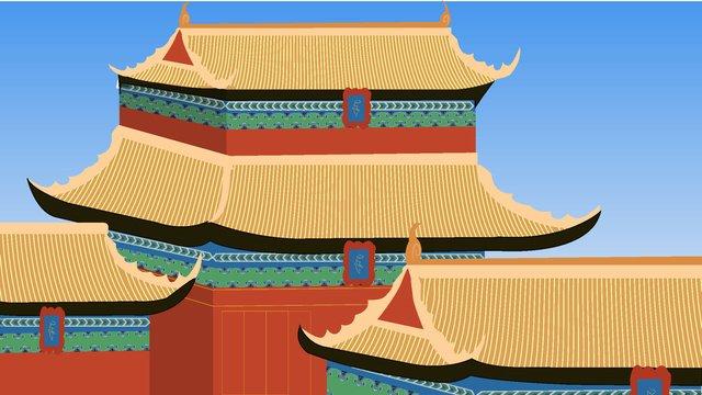 Ancient customs palace building llustration image