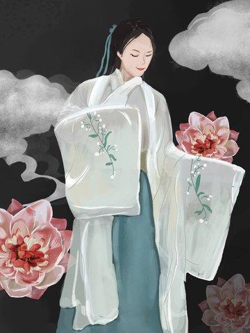 चीनी शैली की पानी के रंग लड़की स्कर्ट अवधारणा चित्रण पहने हुए चित्रण छवि