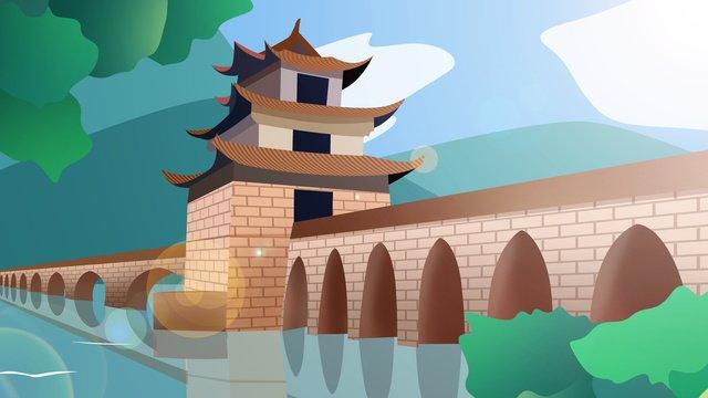 中国風の歴史的建造物双龍橋 イラスト素材 イラスト画像