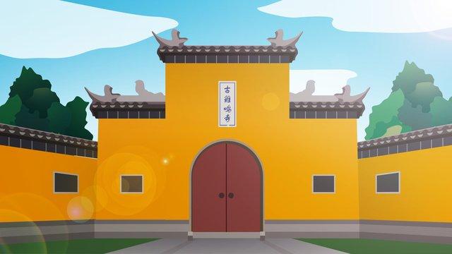 中国風の歴史的建造物jiming temple イラストレーション画像 イラスト画像