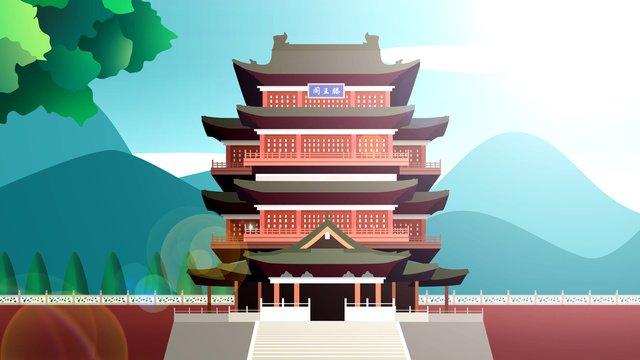 中国風の歴史ある建物tengwang pavilion イラスト素材 イラスト画像
