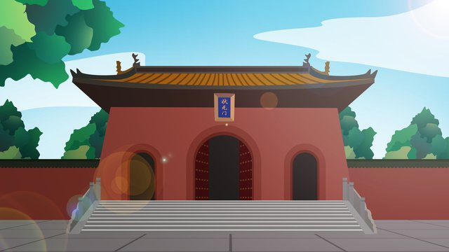tòa nhà lịch sử kiểu trung quốc cổng chùa khổng tử Hình minh họa Hình minh họa