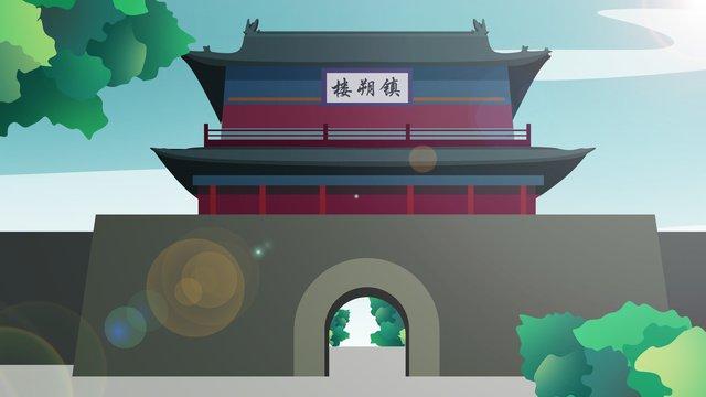 tòa nhà lịch sử phong cách trung quốc Hình minh họa Hình minh họa