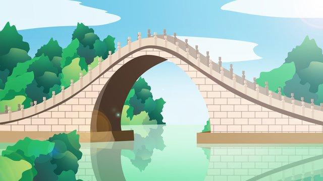 中国風の歴史的建造物玉帯橋 イラスト素材 イラスト画像