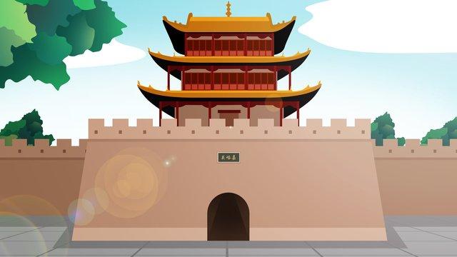 tòa nhà lịch sử phong cách trung quốc jiayuguan Hình minh họa Hình minh họa