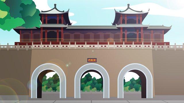 tòa nhà lịch sử phong cách trung quốc xuanwumen Hình minh họa Hình minh họa