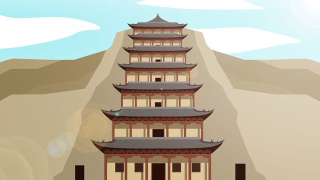중국 스타일의 역사적인 건물 mogao grottoes 삽화 소재