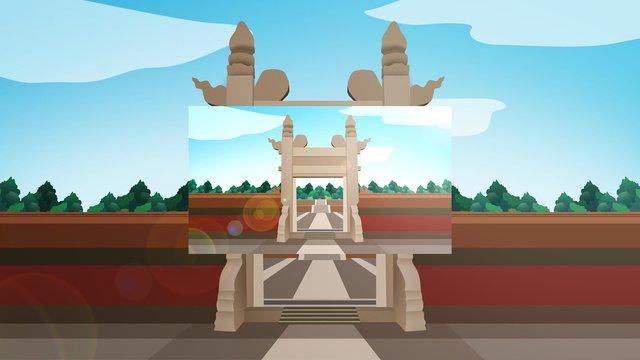 중국 스타일의 역사 건축물 beijing ditan 삽화 소재 삽화 이미지